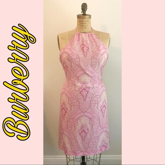 Burberry Dresses & Skirts - Burberry   Pink Paisley Halter Dress